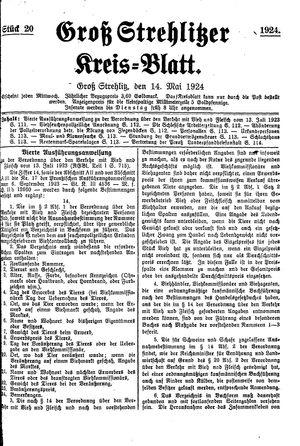 Groß-Strehlitzer Kreisblatt vom 14.05.1924