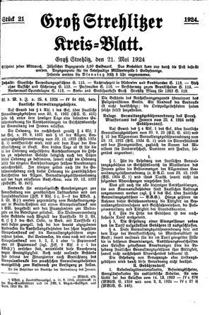 Groß-Strehlitzer Kreisblatt vom 21.05.1924