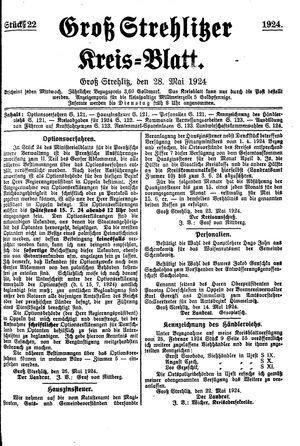 Groß-Strehlitzer Kreisblatt vom 28.05.1924