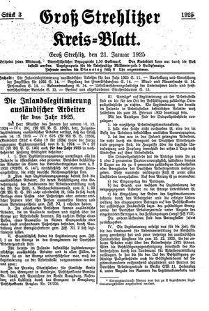Groß-Strehlitzer Kreisblatt vom 21.01.1925