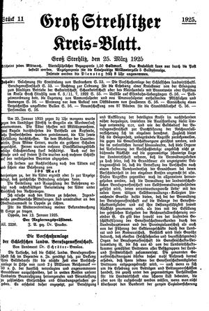 Groß-Strehlitzer Kreisblatt vom 25.03.1925