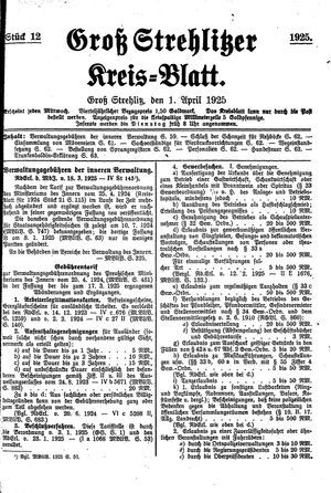 Groß-Strehlitzer Kreisblatt vom 01.04.1925