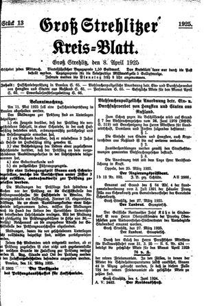 Groß-Strehlitzer Kreisblatt on Apr 8, 1925