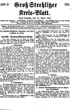 Groß-Strehlitzer Kreisblatt vom 15.04.1925