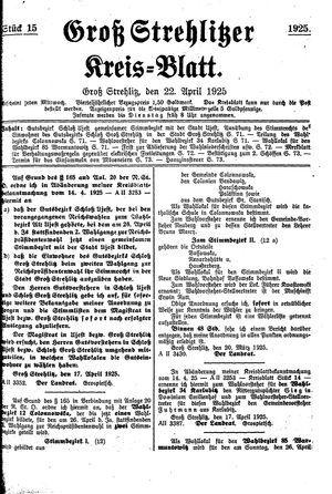 Groß-Strehlitzer Kreisblatt vom 22.04.1925