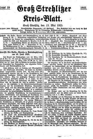 Groß-Strehlitzer Kreisblatt vom 13.05.1925