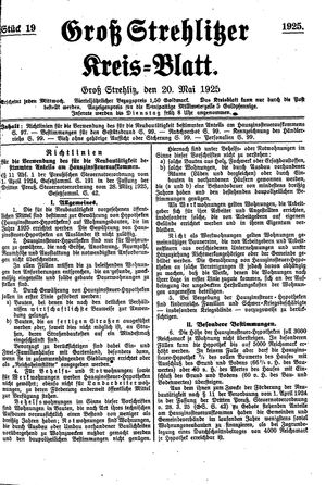 Groß-Strehlitzer Kreisblatt on May 20, 1925