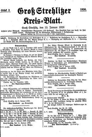 Groß-Strehlitzer Kreisblatt vom 13.01.1926