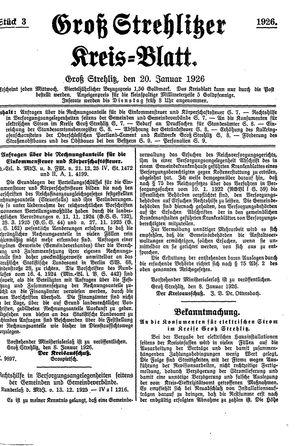 Groß-Strehlitzer Kreisblatt vom 20.01.1926