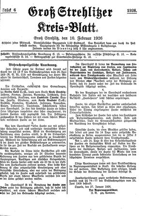Groß-Strehlitzer Kreisblatt vom 10.02.1926