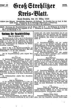 Groß-Strehlitzer Kreisblatt vom 10.03.1926