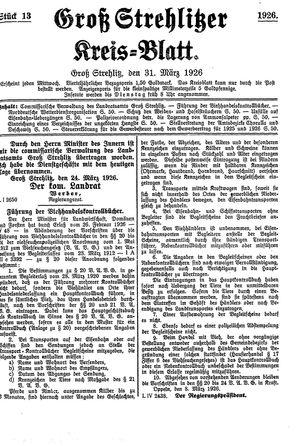 Groß-Strehlitzer Kreisblatt vom 31.03.1926