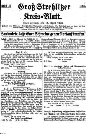 Groß-Strehlitzer Kreisblatt vom 14.04.1926