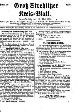 Groß-Strehlitzer Kreisblatt vom 19.05.1926