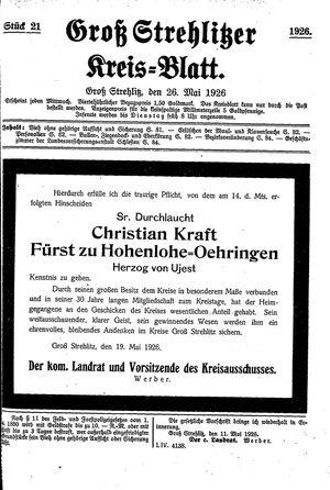 Groß-Strehlitzer Kreisblatt vom 26.05.1926