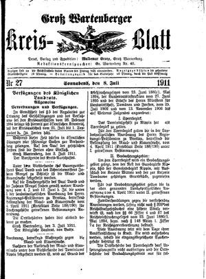 Groß-Wartenberger Kreisblatt vom 08.07.1911