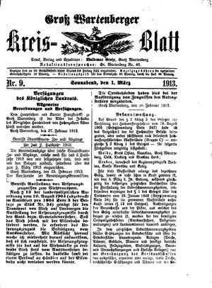 Groß-Wartenberger Kreisblatt vom 01.03.1913