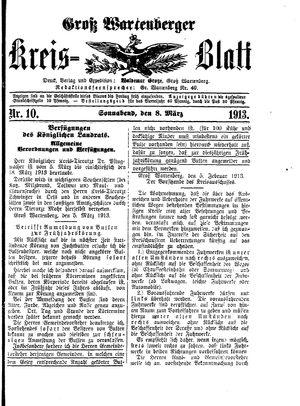 Groß-Wartenberger Kreisblatt vom 08.03.1913