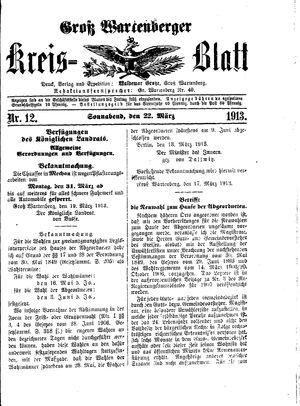 Groß-Wartenberger Kreisblatt vom 22.03.1913