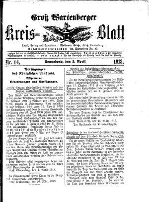 Groß-Wartenberger Kreisblatt vom 05.04.1913