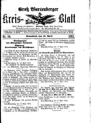 Groß-Wartenberger Kreisblatt vom 19.04.1913