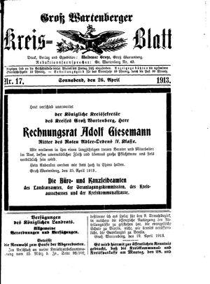 Groß-Wartenberger Kreisblatt vom 26.04.1913