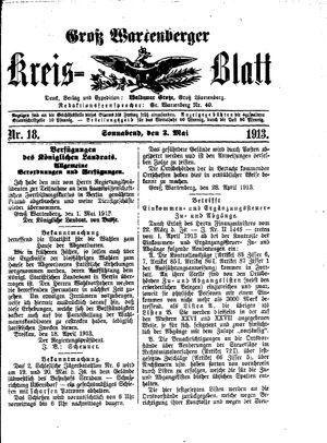 Groß-Wartenberger Kreisblatt vom 03.05.1913