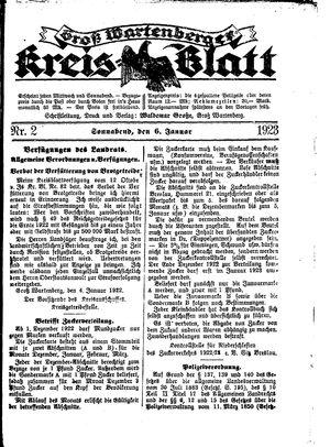 Groß-Wartenberger Kreisblatt vom 06.01.1923