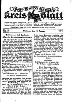 Groß-Wartenberger Kreisblatt vom 17.01.1923