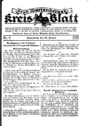Groß-Wartenberger Kreisblatt vom 27.01.1923