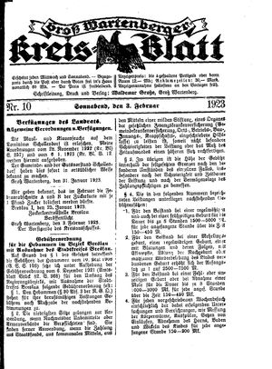 Groß-Wartenberger Kreisblatt on Feb 3, 1923