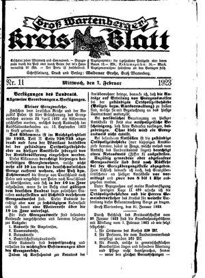 Groß-Wartenberger Kreisblatt vom 07.02.1923