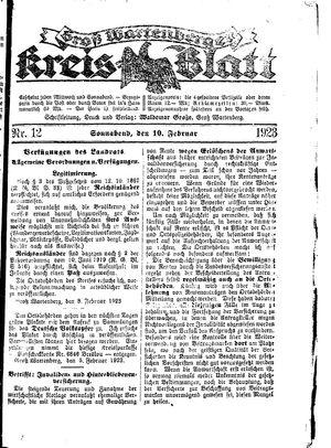 Groß-Wartenberger Kreisblatt vom 10.02.1923