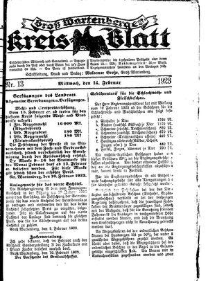 Groß-Wartenberger Kreisblatt vom 14.02.1923