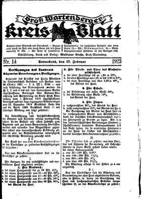 Groß-Wartenberger Kreisblatt vom 17.02.1923