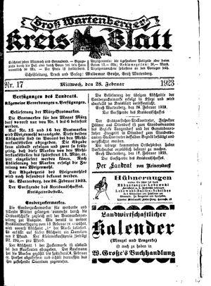 Groß-Wartenberger Kreisblatt vom 28.02.1923