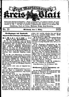 Groß-Wartenberger Kreisblatt vom 07.03.1923