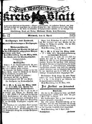 Groß-Wartenberger Kreisblatt vom 04.04.1923