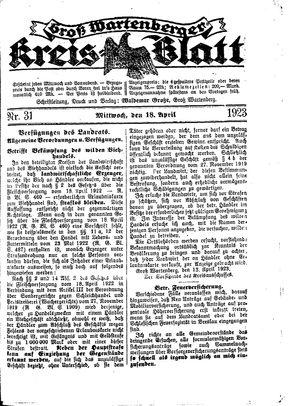 Groß-Wartenberger Kreisblatt vom 18.04.1923
