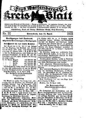 Groß-Wartenberger Kreisblatt vom 21.04.1923