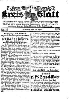 Groß-Wartenberger Kreisblatt vom 25.04.1923