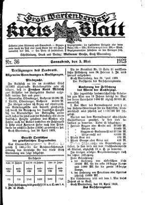 Groß-Wartenberger Kreisblatt vom 05.05.1923