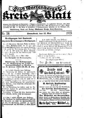 Groß-Wartenberger Kreisblatt on May 12, 1923
