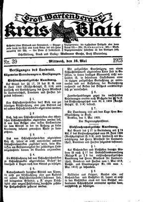 Groß-Wartenberger Kreisblatt vom 16.05.1923