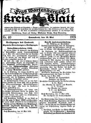 Groß-Wartenberger Kreisblatt vom 19.05.1923
