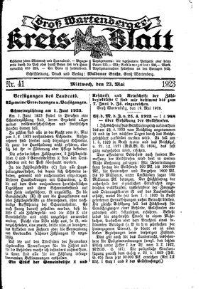 Groß-Wartenberger Kreisblatt vom 23.05.1923