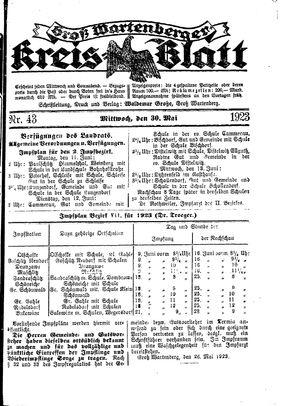 Groß-Wartenberger Kreisblatt on May 30, 1923