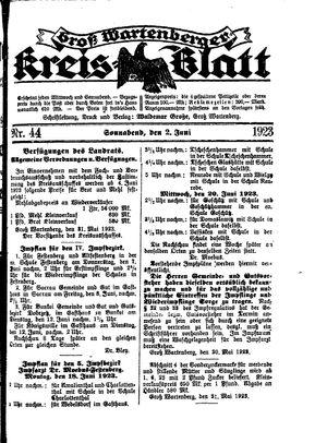 Groß-Wartenberger Kreisblatt vom 02.06.1923
