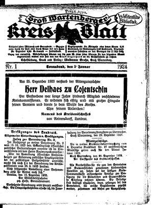 Groß-Wartenberger Kreisblatt vom 05.01.1924