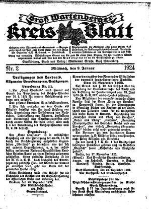 Groß-Wartenberger Kreisblatt vom 09.01.1924